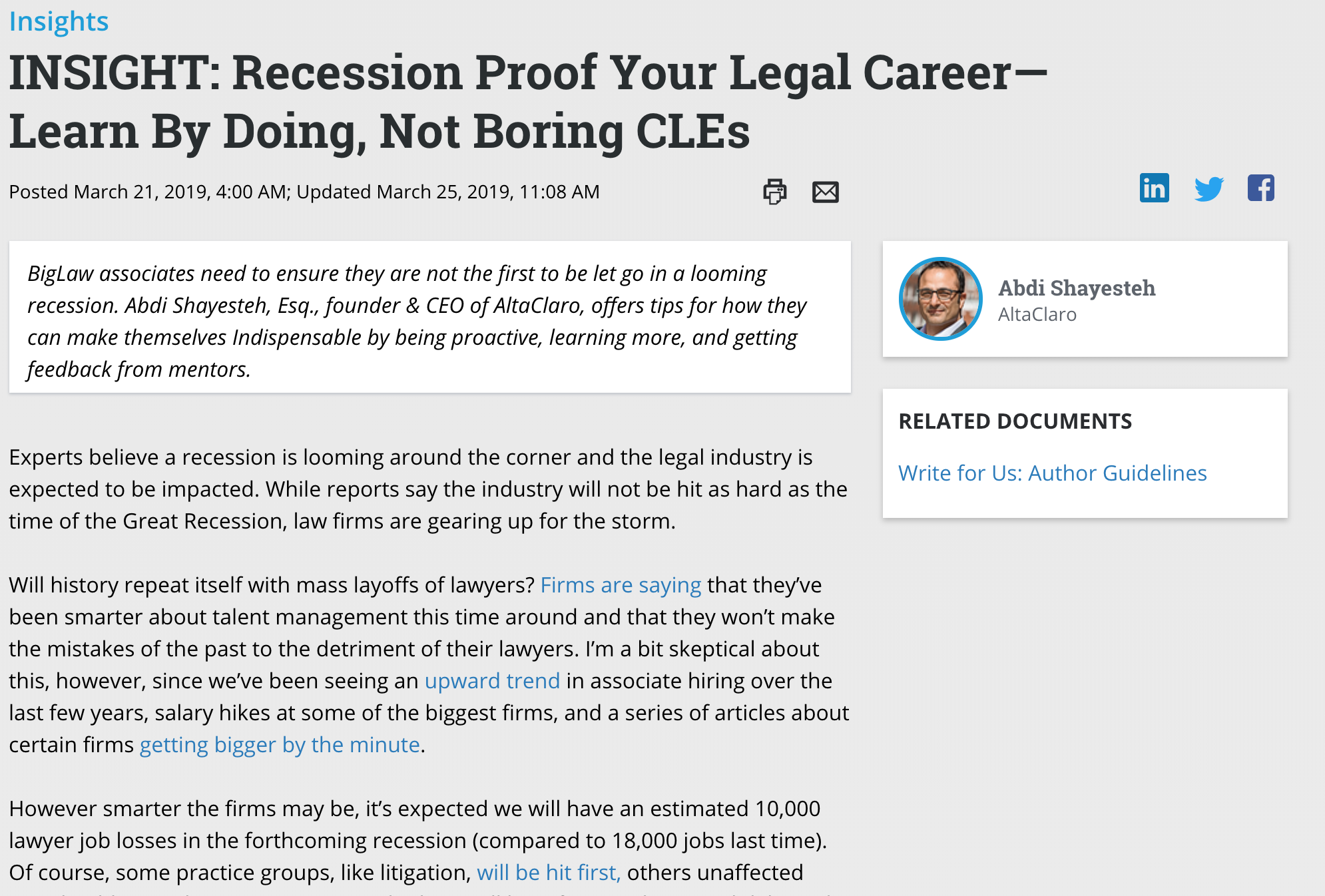 INSIGHTS: Recession Proof Your Legal Career—Learn By Doing, Not